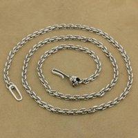 LINSION 4 mm carré Lien chaîne Argent 925 crâne crochet Charms Collier fermoir TA35 Longueur 18 à 36 pouces Disponible
