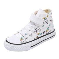 Swonco Kinder Leinwandschuhe Jungen Weiße Schuhe Turnschuhe High Top Frühling Einhorn High Top White Sneakers Für Mädchen Casual 210308