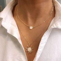 太陽の花多層チェーンネックレスジュエリーファッションオパール鎖骨チェーンペンダントネックレスゴールドシルバーカラーネックレスペンデン