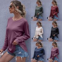 T-shirts Femmes solides Vestidos Costume col rond manches longues Pull Femme Chemisier Top Lady Casual Vêtements de Loose Women LSK1239
