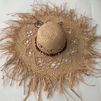 حافة واسعة القبعات zjbechhmu عارضة الصلبة خمر مجوهرات اكسسوارات القش قبعة الشمس للنساء الصيف كاب مظللة شاطئ للطي 2021 فيدورا