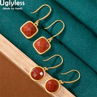 Uglyless Simple Round Square Earrings for Women Nature Jade Agate Pink Crystals Earring Gold 925 Silver Geometric Brincos Bijoux