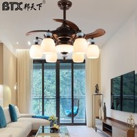 American fan lamp family expenses atmospheric sitting room lamp modern dining room droplight bedroom invisible ceiling fan