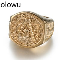 olowu Hot Sale Etherial Handmade Men Masonic Rings Stainless Steel Gold Color Rings For Mens New Classic Hip Hop Freemasons Ring