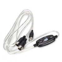 لوحة المفاتيح لPC USB كيبل MIDI PC إلى الموسيقى لوحة المفاتيح الحبل USB 16 قناة IN-OUT MIDI الأسهم واجهة كابل في