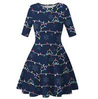 Kadınlar Diz Boyu Elbise Noel Ağaçları Snowflower Baskılı Tunik Elbise Bayanlar Yarım Kol Zayıflama Etek Noel Parti Elbise Giyim D9304