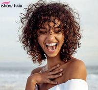 Perucas de cabelo ishow Nacional de Águas peruca curta profunda Curly Bob Peruca Colorido humano com Bangs máquina feita Perucas peruana Curly Nenhum Lace Wigs
