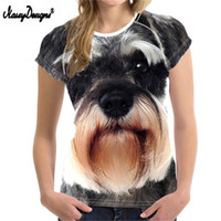 NoisyDesigns Atacado 3D Schnauzer mulheres T-shirt Mulher Tops shirt O Neck Elastic Modelo básico menina Female Dog T-shirt 2020