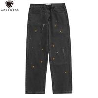 Aolamegs Hombres Vaqueros estrella bordado gráfico Pintada Pantalones vaqueros de los hombres de la vendimia de Harajuku simple recta Pantalones holgados Streetwear