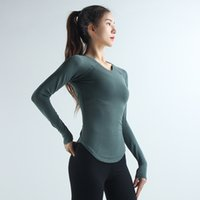 oem 2020 Long Sleeve Patchwork Anti Sweat Quick Dry Yoga Top O Collo solido Palestra Fitness T-shirt Jogger Esecuzione di T-shirt allenamento Top