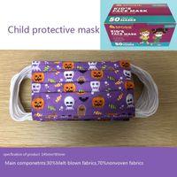 Máscaras faciales desechables Halloween niños adulto Facenas de adultos con un paño de Meltblown 3 capas de la máscara de la escuela protectora de la escuela en inglés