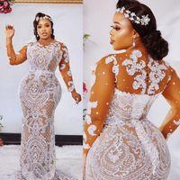 Moda Plus Size Sereia vestidos de casamento Lace Bateau Sheer Neck mangas compridas frisada vestidos de noiva Trem da varredura robe de mariée