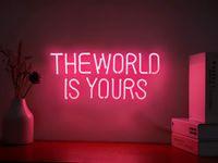 O mundo é o seu néon sinais para parede quarto decoração decoração de festa frete grátis
