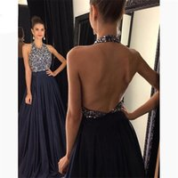 Halter Black Soirée Gestion de soirée Vestidos de Festa Bearing Britannique Perles Dossier longue Satin Robe de bal