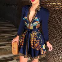 Zarif Zincir Mektup Baskı Gömlek Elbise Yaz Kadın V Yaka Bandaj Düğme Elbise Vintage Uzun Kollu Mini Parti Elbiseler Vestidos T200914