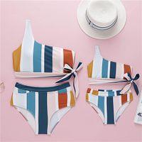 Instintos Conjuntos de juegos para familias Chicas Swimsuits Baby Arcos Bikini Swimwear Kids Color Color Colorido Niños Dew Un Hombro Bañándose Trajes