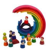 어린이 크리 에이 티브 레인보우 빌딩 블록 몬테소리 교육 장난감 어린이를위한 아기 장난감 대형 무지개 스태커 나무 장난감