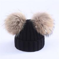 Madre bambini inverno caldo Caps pelliccia reale Pom Pom Beanie maglia di lana cappello per ragazze dei neonati Pompom Raccoon Balls Beanie Cap Bonnet