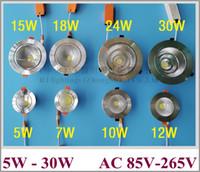INCASSO installare COB LED del punto del soffitto del riflettore 5W 7W 10W 12W 15W 18W 24W 30W COB lama in alluminio del radiatore AC85V-265V