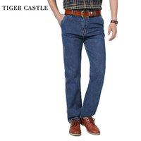 Jeans pour hommes château de tigre château décontracté pantalon de denim 100% coton taille haute mâle combinaisons hétéroplans hommes classique automne pantalon