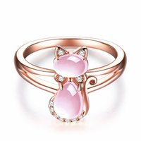 10 PCS ROSE Gold Plaqué Récisable Doigt Bague Jolie chat Quartz rose pour cadeau Vert Agate Bijoux