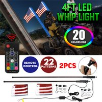 1Pair LED Whip Light 3 4FT RGB Muti Color Bendable Wireless Remote Control Flagpole Lamp Light DC12V+America Flag with Base