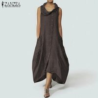 Bouton d'été Sundress Vintage ZANZEA femmes Robe longue Femme manches Patchwork Vestidos Plus Size Robe asymétrique Femme
