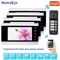 960P 7 '' IP Sistema de control de video teléfono de la puerta de intercomunicación de vídeo Wifi Soporte Tuya inteligente App Inicio Acceso de 4 Apartamento botón táctil