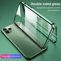 iPhone 11 için 11 Pro 11 Pro Max Telefon Çift iPhone XR için 360 Manyetik Adsorpsiyon Tam Kapak Telefon Kılıfı Cam Kılıfı Taraflı