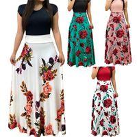 مختلف أنماط مصمم اللباس عادية Famale طاقم الرقبة سليم ملابس النساء فلورا Colorblock القميص الصيف كم قصير