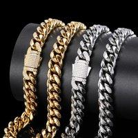 """Moda Hombre Hip Hop Collar 12mm 16/18/20/22/24/24/26/28 """"Collar de cadena de cadena Cubanl de Stee Cubanl chapado en oro."""