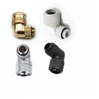 Fans Kühlungen HDC abgewinkelt 90 Grad OD14mm Festkörper Hardrohrkompressionsbeschlag G1 / 4 schwarz / silber / weiß / gold 4 farben optional