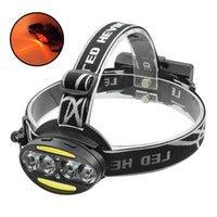 Faro potente XML T6 + COB LED Faro blanco Luz roja Lámpara de cabeza recargable impermeable Frontal para la caza
