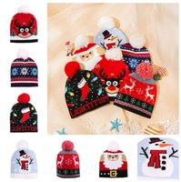 Bebê Gorros Inverno crianças Natal morno Beanie Cap Knit Pom Bola Chapéus CAP Xmas Papai Noel boneco de neve impresso malha Crânio ao ar livre Chapéus D91004