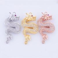 3 colori di rame monili zircone Drago animale Pendenti modo DIY Connettori di collegamento Accessori braccialetto adatto Collane