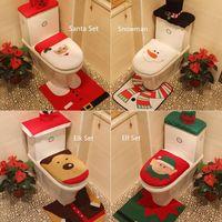 3шт Санта-Клаус Набор стульчак Обложка Xmas Новогодние украшения WC для гостиниц Главная Украшение рождественские подарки для ванной Covers