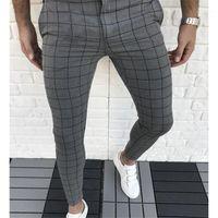 패션 자연 색 카프리 바지 캐주얼 스타일 남성 바지 남성 의류 격자 무늬 패널로 디자이너 연필 바지