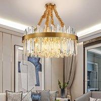 ouro luxo cristal lustre de luz viva jantar luminárias cadeia sala redonda escovado levou chandlier cristal