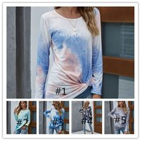 Mode Tie-Dye Gradient Long Printemps Automne Femmes manches T-shirts Designer col rond noueuse causales Sport dames Pull S-XXL LY910