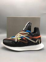 2020SS جديد مصمم الملونة أربطة الحذاء الخياطة الدانتيل جلد طبيعي شقة مدرب شقة الكاحل الحصرية مخصصة جديد موسم الأحذية