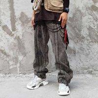 EWQ / erkek giyim yeni hiphop moda gevşek fermuar pantolon geniş bacak kot Düz pantolon 2020 erkeğin degrade High Street kot