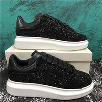 Mode Chaussures Casual Femmes Hommes Hommes Daily Lifestyle Chaussures Skate Chaussures Trendy Plateforme Marche Formateurs Black Glitter Shinny