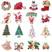 Рождество Тематические Брошь Pins Эмаль Ювелирные изделия с Rhinestone Кристалл Рождественские украшения Рождественский подарок для женщин мужчин