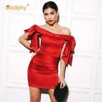 Abiti casual Modphy 2021 estate celebrità partito senza spalline vestito donna manica corta rossa nero bodycon sexy club mini vestidos