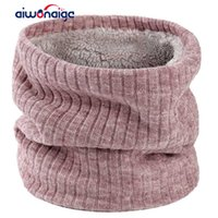 Scarves Scarf For Women To Keep Warm In Winter Velvet Ring Bib Men women Pure Color Knitted High Quality Cotton Thickening