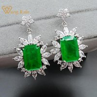 Wong Chuva Vintage Prata 925 Sterling Criado Moissanite Emerald Gemstone Birthstone Gota Dangle Brincos Fine Jewelry Wholesale