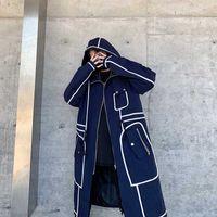 Winter Herbst Herren mit Kapuze Trenchcoat Männer Hohe Qualität Casual Lange Streetwear Männlich Feste Lange Windjacke Hip Hop Oberbekleidung