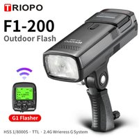 Triopo F1-200 Outdoor Pocket Flash Light 2.4GL HSS 1 / 8000s double tête 200Ws avec batterie au lithium flash
