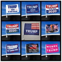 Moda Trump Car Bandiera 45 * 30cm 2020 US Presidential Election Finestra Trump Flag Car Bandiera compreso Flagpole DDA475-2
