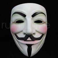 Белый V Маска Маскарад Маска Маски Eyeliner Halloween Full Face Party Реквизит Vendetta Anonymous Movie Guy Маски RRA3557